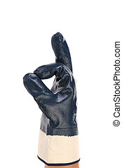 Rubber protective glove isolated over white background