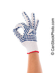 Rubber protective glove shows sign ok. Isolated on a white...
