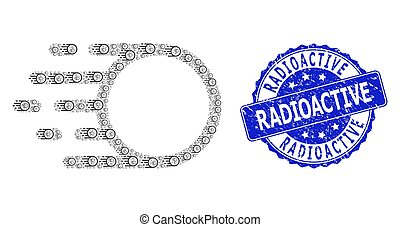 Rubber Radioactive Round Stamp and Recursion Light Motion Icon Composition