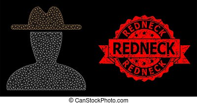 Mesh network peasant persona on a black background, and Redneck corroded ribbon stamp seal. Red stamp seal has Redneck tag inside ribbon.