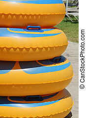 rubber rings in the water park