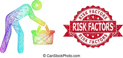 Bright colored wire frame tired buyer persona, and Risk Factors scratched ribbon seal. Red stamp seal contains Risk Factors caption inside ribbon.