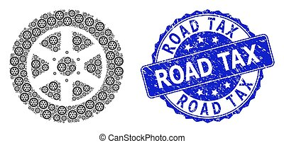 Rubber Road Tax Round Watermark and Recursion Tire Wheel Icon Composition