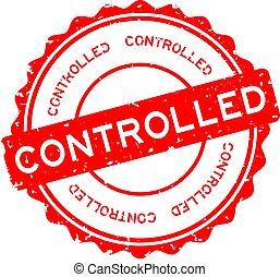 rubber, ronde, postzegel, grunge, gecontroleerd, achtergrond, zeehondje, witte , woord, rood