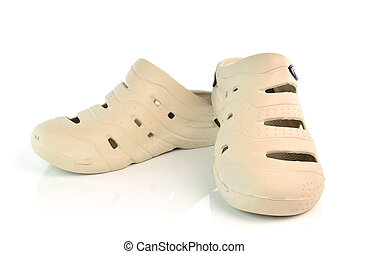 rubber sandals on a white background