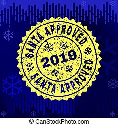 Rubber SANTA APPROVED Stamp Seal on Winter Background