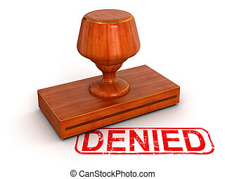Rubber Stamp Denied. Image with clipping path