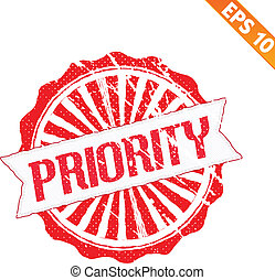 Rubber stamp high priority - Vector illustration - EPS10