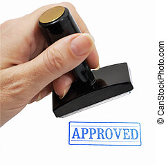Rubber stamp in a hand