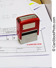 rubber stamp marked with cancel