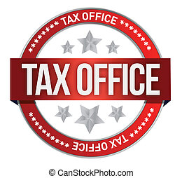 rubber stamp marked with tax office illustration design over white