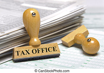tax office - rubber stamp marked with tax office
