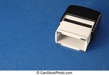 Rubber stamp on a blue background
