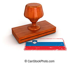 Rubber Stamp Slovene flag. Image with clipping path