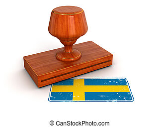 Rubber Stamp Swedish flag.  Image with clipping path