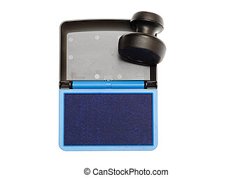Rubber stamp with opened blue ink pad isolated