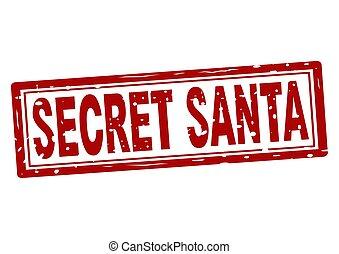 Rubber stamp with text secret Santa inside