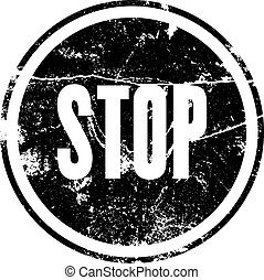 Rubber stamp with the word stop
