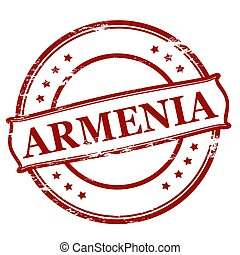 Rubber stamp with word Armenia inside, vector illustration