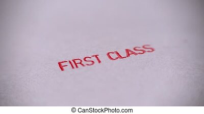 Rubber stamping that says 'First Class'. - Rubber stamping ...