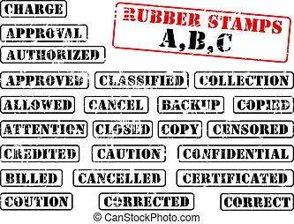 Rubber stamps collection ABC - Collection of rubber stamps...