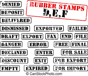 Rubber stamps collection DEF - Collection of rubber stamps...