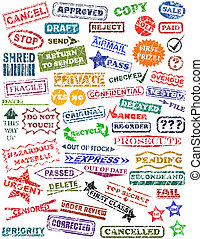 Selection of rubber stamps with grunge