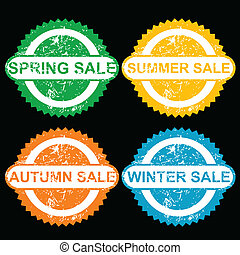 Rubber stamps with texr spring sale, sumer sale, autumn sale...