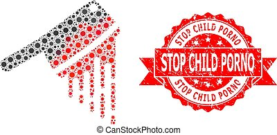 Rubber Stop Child Porno Stamp and Covid Virus Mosaic Blood ...