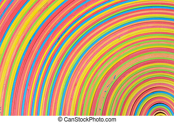 vibrant rubber strips arranged in circular pattern.