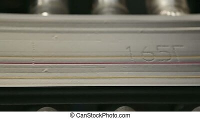 Rubber tape marked with colored stripes. Close up. -...