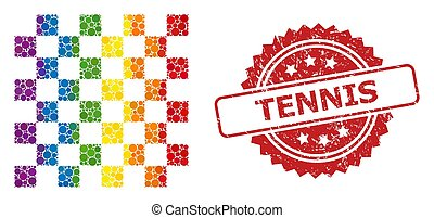 Rubber Tennis Stamp and Bright Colored Chess Board Mosaic