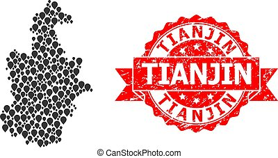 Rubber Tianjin Stamp Seal and Mark Mosaic Map of Tianjin ...