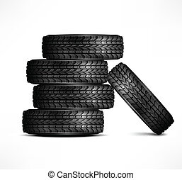 Rubber tires - Black rubber tires on white background,...