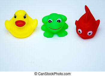 rubber toys for swimming-fish, duck, frog
