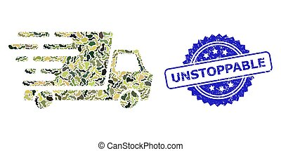 Military camouflage collage of delivery car, and Unstoppable rubber rosette stamp seal. Blue stamp has Unstoppable caption inside rosette. Mosaic delivery car designed with camouflage texture.