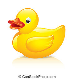 rubber, vector, illustratie, eend