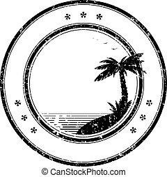rubber, vector, postzegel, met, tropische , palmboom