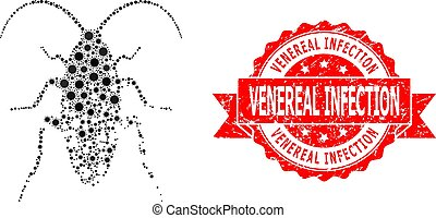 Vector mosaic damaged cockroach of virus, and Venereal Infection unclean ribbon stamp seal. Virus particles inside damaged cockroach composition.