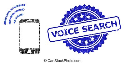 Vector collage cellphone signal, and Voice Search rubber rosette stamp seal. Blue seal has Voice Search title inside rosette. Square parts are united into abstract collage cellphone signal icon.