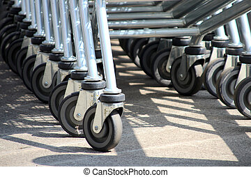 Rubber wheels from carts for a supermarket