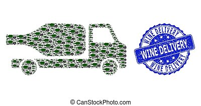 Rubber Wine Delivery Round Seal and Recursive Wine Delivery Icon Mosaic