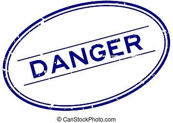 rubber, witte , woord, ovaal, blauwe , gevaar, postzegel, zeehondje, grunge, achtergrond