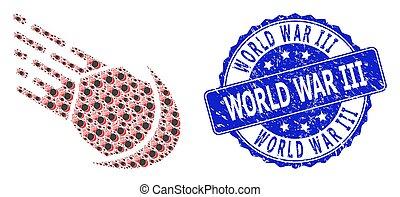 Rubber World War Iii Round Stamp and Recursion Meteor Icon Collage