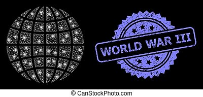 Rubber World War Iii Stamp and Bright Web Mesh Globe with Lightspots