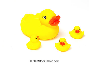 Rubber yellow ducks family