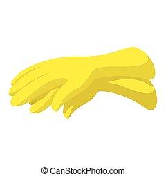 Rubber yellow gloves cartoon icon