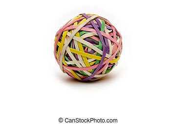 rubberband ball on white slight shadow used to help children with adhd study