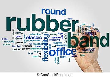 rubberband, woord, wolk