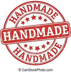 rubberstempel, met de hand gemaakt, ronde, textured